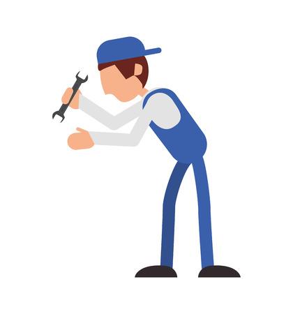 reparador llave constructor sombrero trabajador constructer icono profesional. Diseño plano y aislado. ilustración vectorial Ilustración de vector