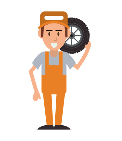 proffesional occupation: repairman wheel hat builder constructer worker proffesional icon. Flat and isolated design. Vector illustration
