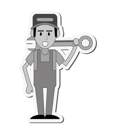proffesional: repairman wrench hat builder constructer worker proffesional icon. Flat and isolated design. Vector illustration