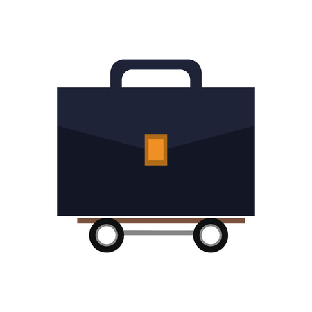 proffesional: suitcase wheel bag business travel proffesional icon. Flat and isolated design. Vector illustration