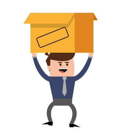 businessman box man male cartoon worker proffesional icon. Flat and isolated design. Vector illustration Illustration