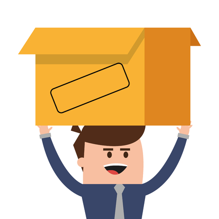 proffesional: businessman box man male cartoon worker proffesional icon. Flat and isolated design. Vector illustration Illustration