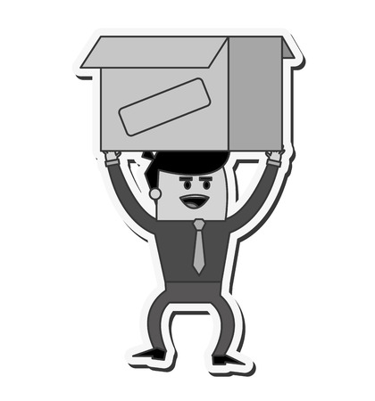 proffesional occupation: businessman box man male cartoon worker proffesional icon. Flat and isolated design. Vector illustration Illustration