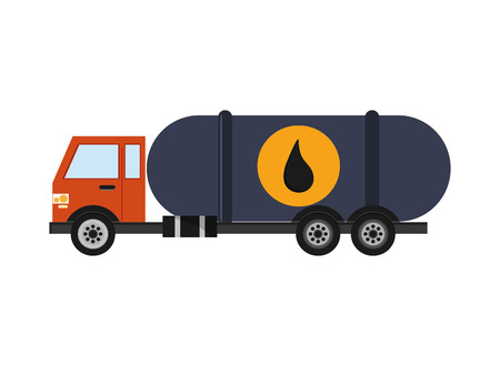 petrochemical plant: truck drop petroleum gasoline oil industry industrial icon. Flat and isolated design. Vector illustration