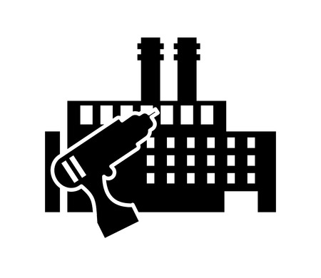 flat design drill and factory icon vector illustration