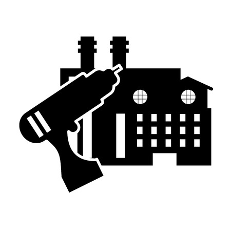 waste recovery: flat design drill and factory icon vector illustration
