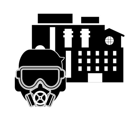 dangerous man: flat design factory and gas mask icon vector illustration