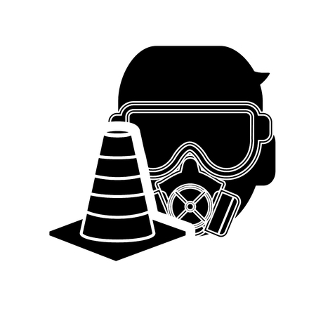 gas mask warning sign: flat design gas mask and traffic cone icon vector illustration Illustration