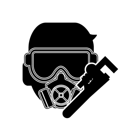 pipe wrench: flat design gas mask and pipe wrench icon vector illustration Illustration