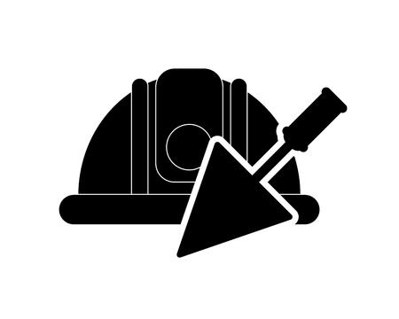 flat design safety helmet and trowel icon vector illustration Illustration