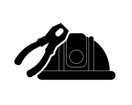 flat design helmet and pliers icon vector illustration