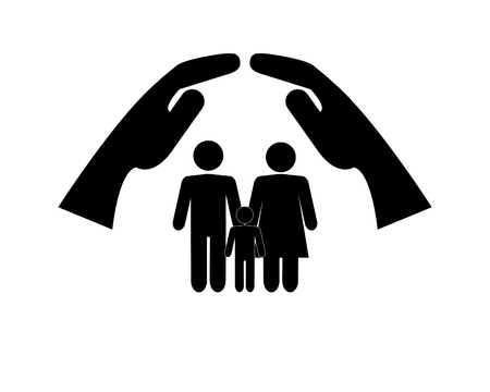 sheltering: flat design sheltering hands and family pictogram icon vector illustration