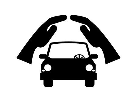 sheltering: flat design sheltering hands and car icon vector illustration