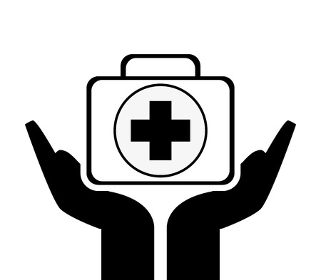 sheltering: flat design sheltering hands andfirst aid kit icon vector illustration