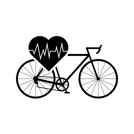 flat design heart cardiogram and bicycle icon vector illustration