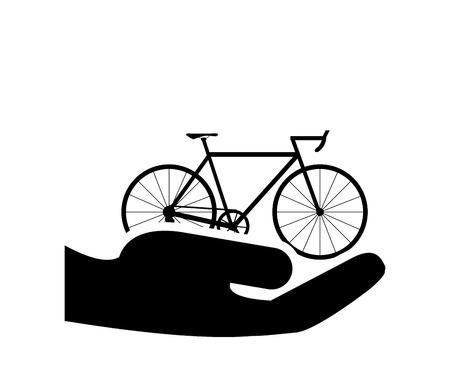 sheltering: flat design sheltering hands and bike icon vector illustration Illustration