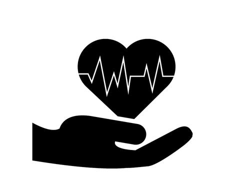 sheltering: flat design sheltering hands and heart cardiogram icon vector illustration Illustration