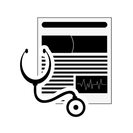 medical history: flat design medical history and stethoscope icon vector illustration