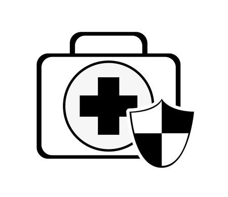 medieval medicine: flat design first aid kit and shield icon vector illustration