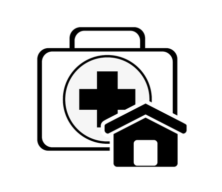 first house: flat design first aid kit and house icon vector illustration Illustration