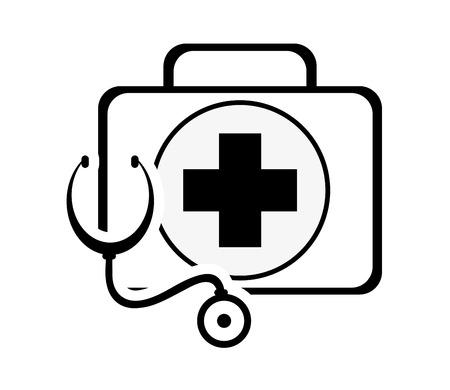 kit platte ontwerp eerste hulp en een stethoscoop pictogram vector illustratie Stock Illustratie