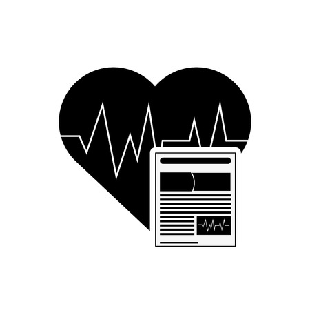 medical history: flat design heart cardiogram and medical history icon vector illustration