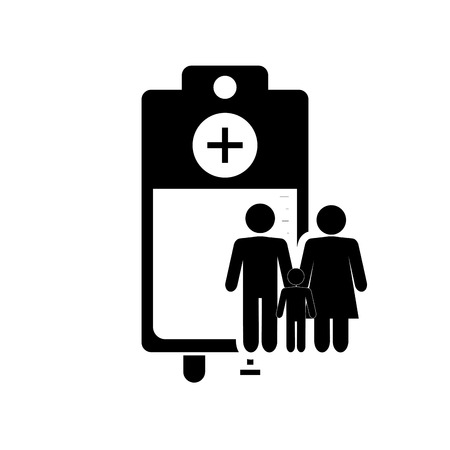 iv drip: flat design iv drip bag and family pictogram icon vector illustration