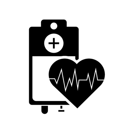 iv drip: flat design iv drip bag and heart cardiogram icon vector illustration