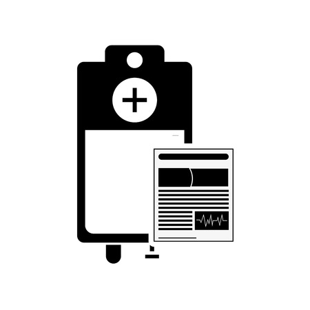 iv drip: flat design medical history and iv drip bag icon vector illustration