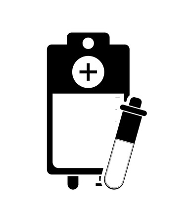 iv drip: flat design iv drip bag and test tube icon vector illustration