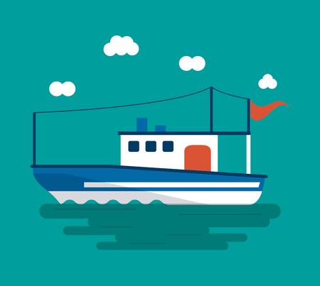 boat ship clouds sea ocean transportation icon. Colorful design. Vector illustration