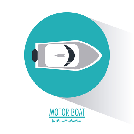 motor boat: motor boat nautical marine sea ocean transportation icon. Colorful and circle design. Vector illustration