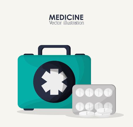 medica: medicine medical kit health care hospital icon. Colorful design. Vector illustration
