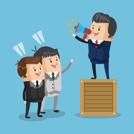 businessman suit: businessman box megaphone male cartoon suit business icon. Colorful and flat design. Vector illustration