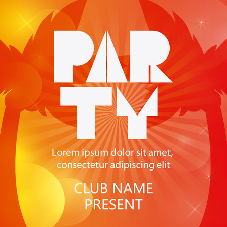 party summer palm tree tipography celebration card advertising icon. Colorful design orange yellow red colors. Vector illustration