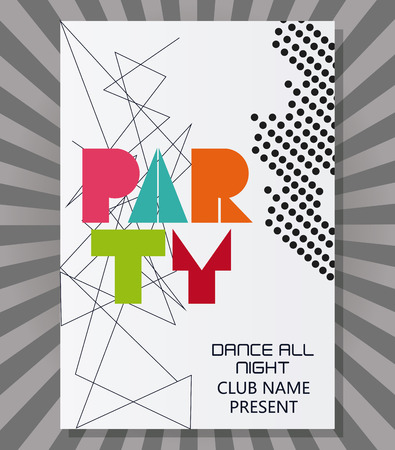 pointed: party tipography celebration night card advertising icon. Colorful pointed and striped design. Vector illustration