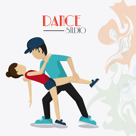 flexible girl: girl boy cartoon avatar dancer dance studio academy advertising icon. Colorful design. Splash background. Vector illustration
