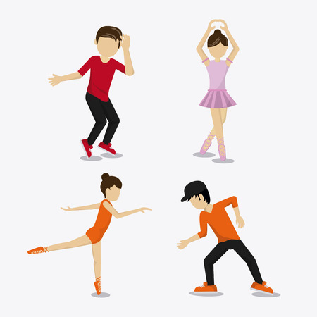flexible girl: girl boy cartoon avatar dancer dance studio academy advertising icon. Colorful design. Vector illustration