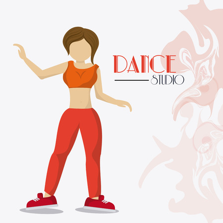 flexible girl: girl cartoon avatar dancer dance studio academy advertising icon. Colorful design. Splash background. Vector illustration