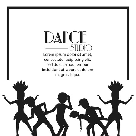 flexible girl: girls boys cartoons avatar dancer dance studio academy advertising icon. Silhouette black and white design. Vector illustration Illustration