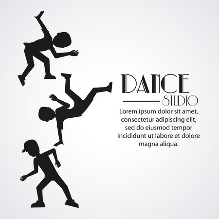 academy: boys cartoons avatar dancer dance studio academy advertising icon. Silhouette black and white design. Vector illustration