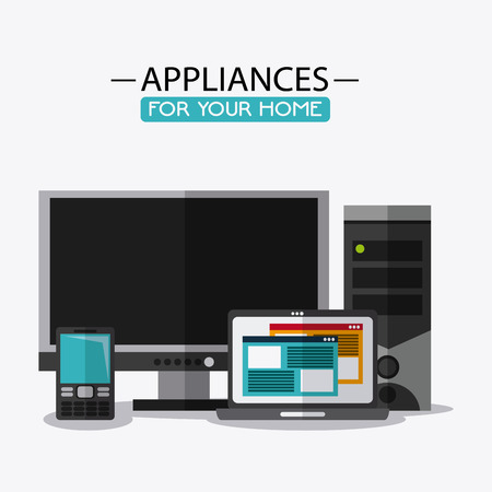 hp: computer laptop cellphone appliances supplies electronic home icon. Colorful and flat design. Vector illustration