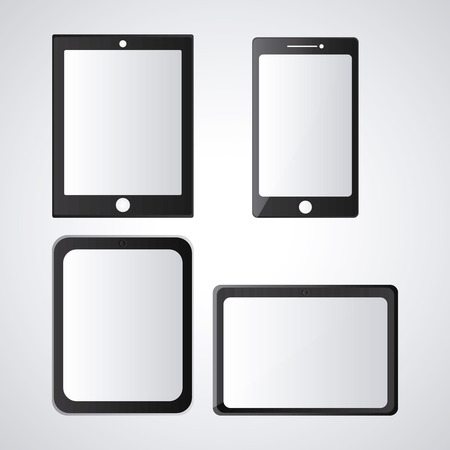 technology tool: Tablet set black device display gadget technology tool icon. Isolated design. Vector illustration Illustration