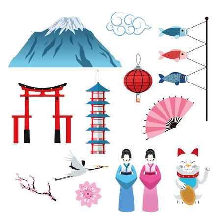 flower lamp: arch building woman fish cat flower mountain lamp crane japan culture landmark asia famous icon. Colorful design. Vector illustration