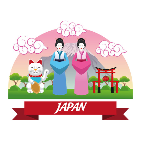 lucky cat: woman girls lucky cat arch cloth japan culture landmark asia famous icon. Colorful design. Vector illustration