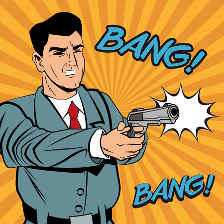 man gun: Detective police man gun revolver pop art comic cartoon icon. Colorful design and striped background. Vector illustration Illustration