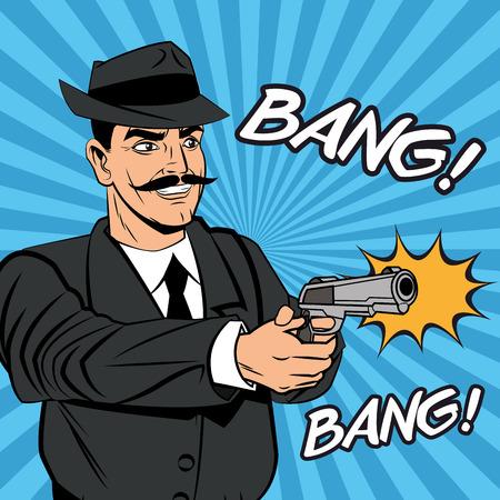 Detective police man gun revolver pop art comic cartoon icon. Colorful design and striped background. Vector illustration Illustration