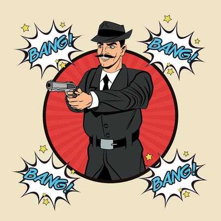 man gun: Detective police man gun revolver pop art comic cartoon icon. Colorful and striped seal stamp design. Vector illustration