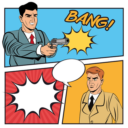 Detective police thief man bubble gun revolver bubble pop art comic cartoon icon. Colorful design. Vector illustration Illustration
