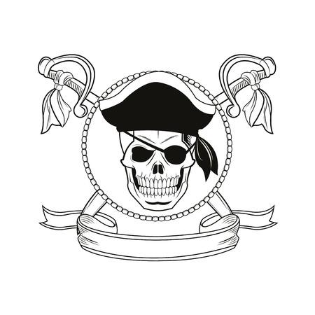 tattooing: skull sword ribbon cartoon pirate tattoo marine nautical icon. Black white isolated design. Vector illustration